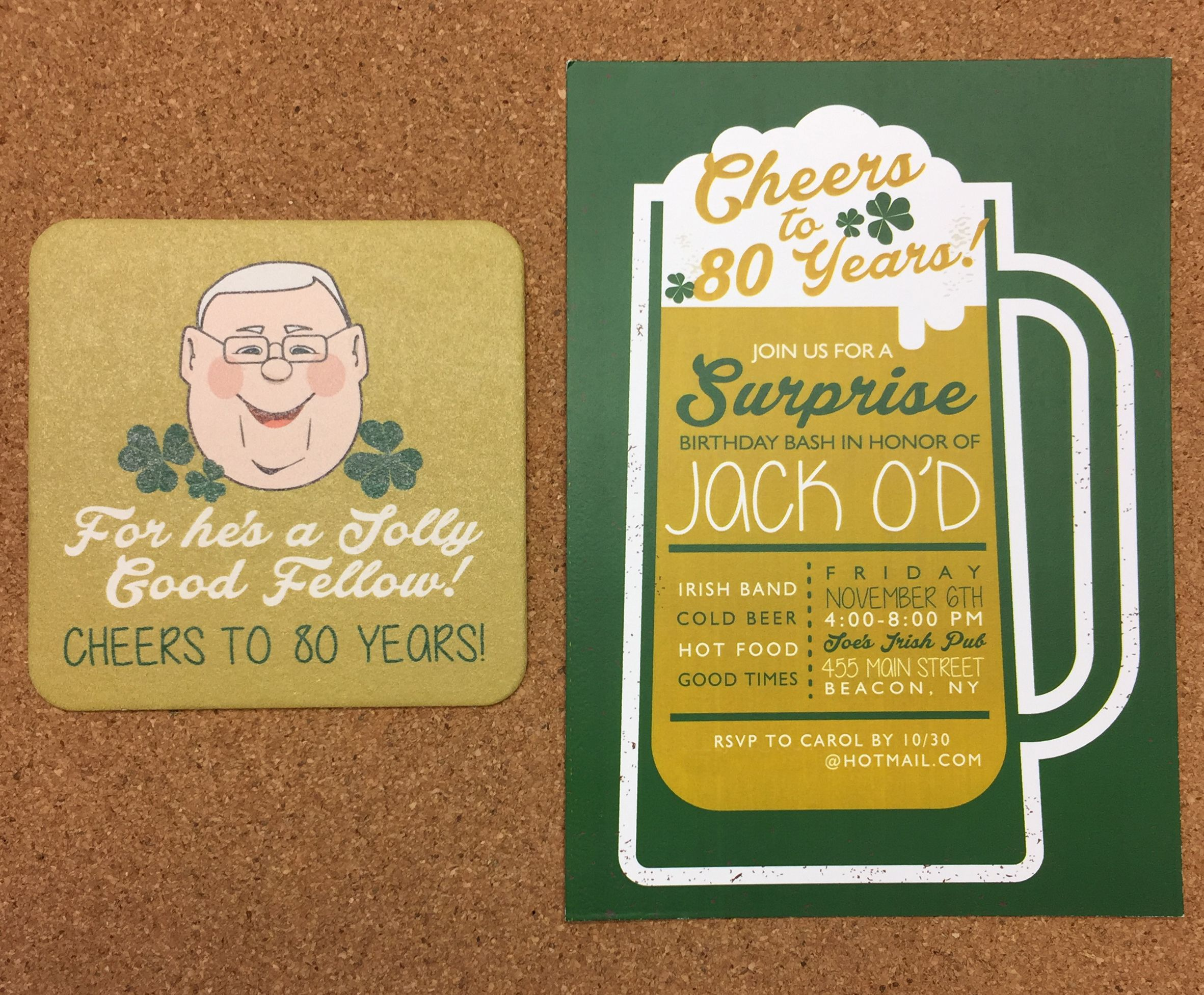 Cheers to 80 Years Custom Caricature Coaster Beer Mug 80th