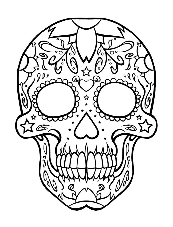 Sugar skull coloring pages printable skull coloring pages for developing knowledge in human physiology