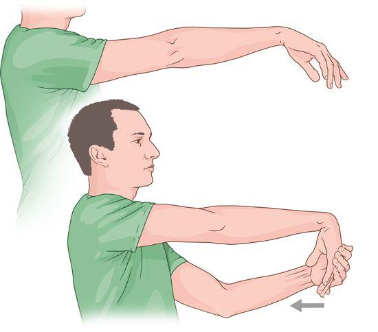 Grafik: Dehnübung bei Tennisarm - wie im Text beschrieben