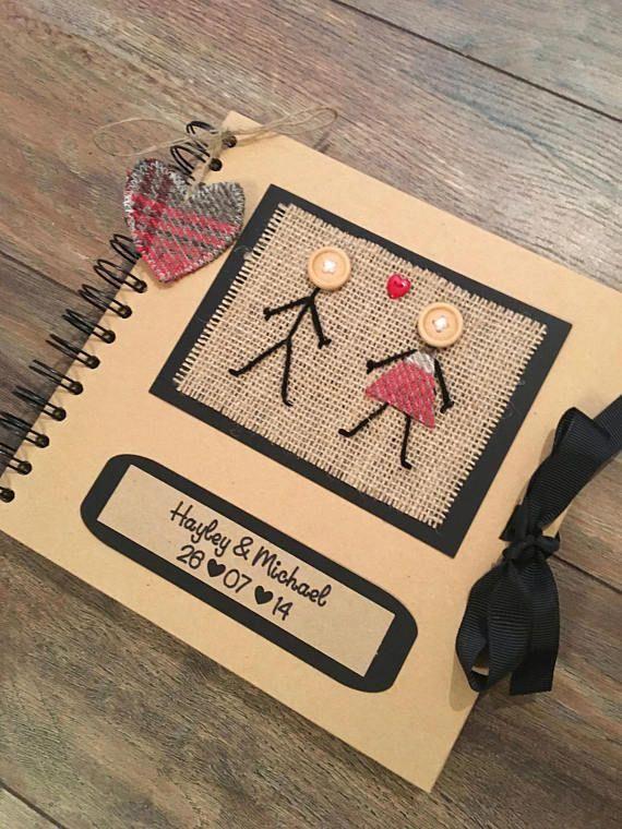 "8""x8"" Personalised Scrapbook - Rustic Scrapbook - Keepsake Book - Memory Book - Gift for Girlfriend, Gift for Boyfriend - Anniversary Gift #CoupleScrapbook"