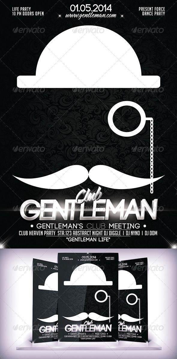 Gentleman Club Flyer  Photoshop Font Logo And Graphics