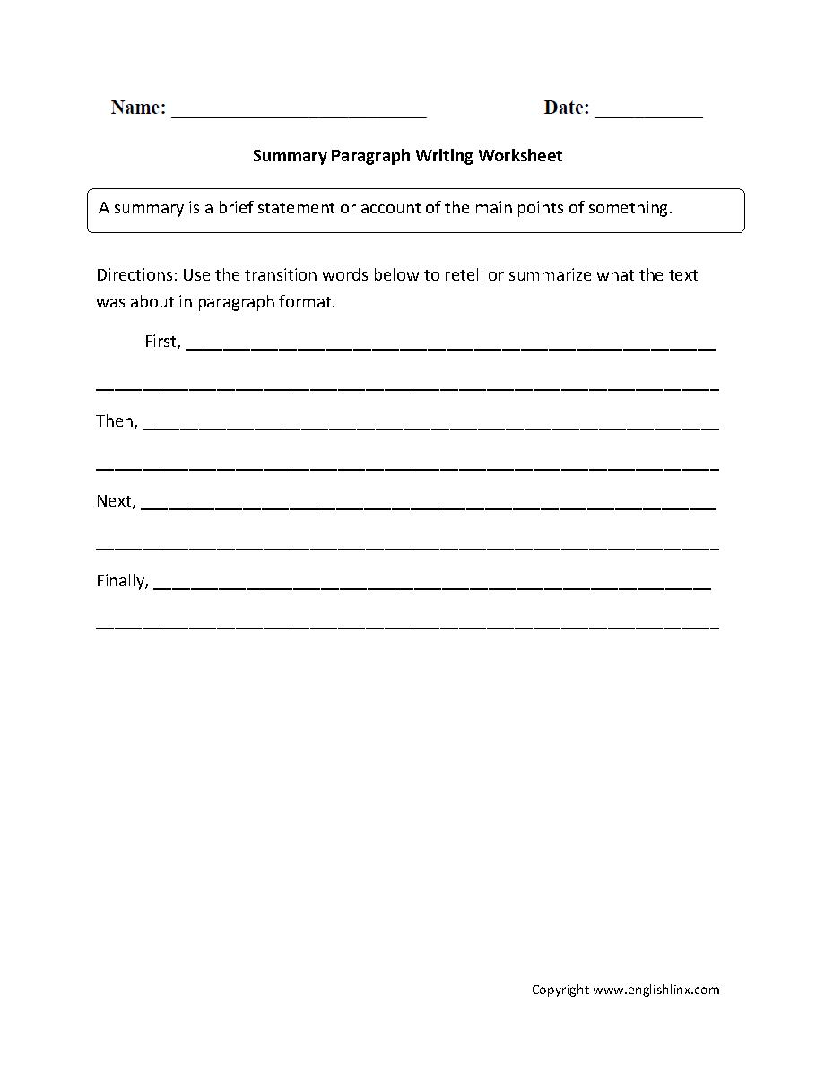 worksheet Transitions Between Paragraphs Worksheet summary paragraph writing worksheets classroom pinterest worksheets