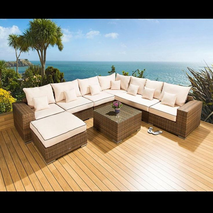 Luxury outdoor garden l shape corner sofa set group brown for Luxury l shaped sofas