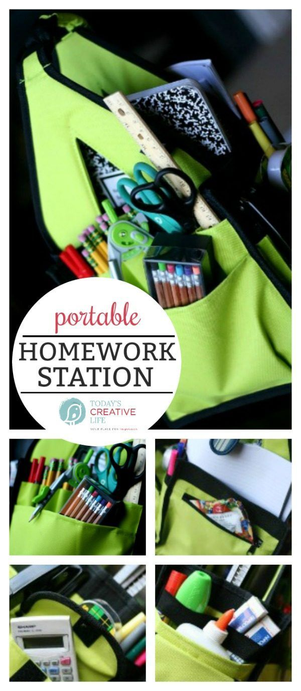 Info's : Homework Station | Portable Homework Study Station | Back to school | Study tips | See what to place in your homework tote on TodaysCreativeLife.com