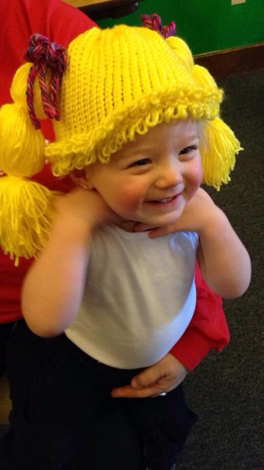 Cabbage Patch Wig Hat made on knitting loom | LOOM-BABY & CHILD ...