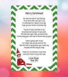 Santas Elf Helper Goodbye Letter Instant Download printable