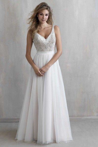 Ivory A Line Straps Sweep Brush Train Tulle Fabric Boho Wedding Dress With Beading