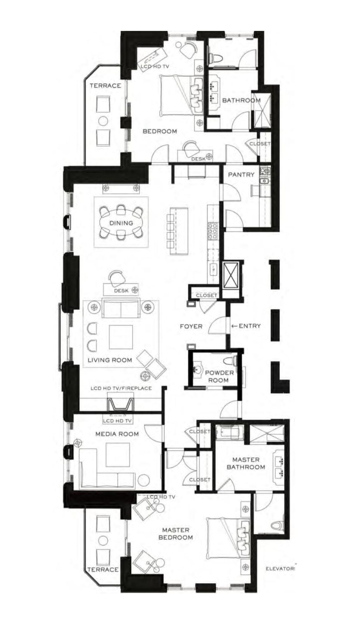 Waldorf Astoria Chicago Presidential Suite 2130 Sq Ft In 2020 Hotel Floor Plan Luxury Hotel Room Hotel Plan