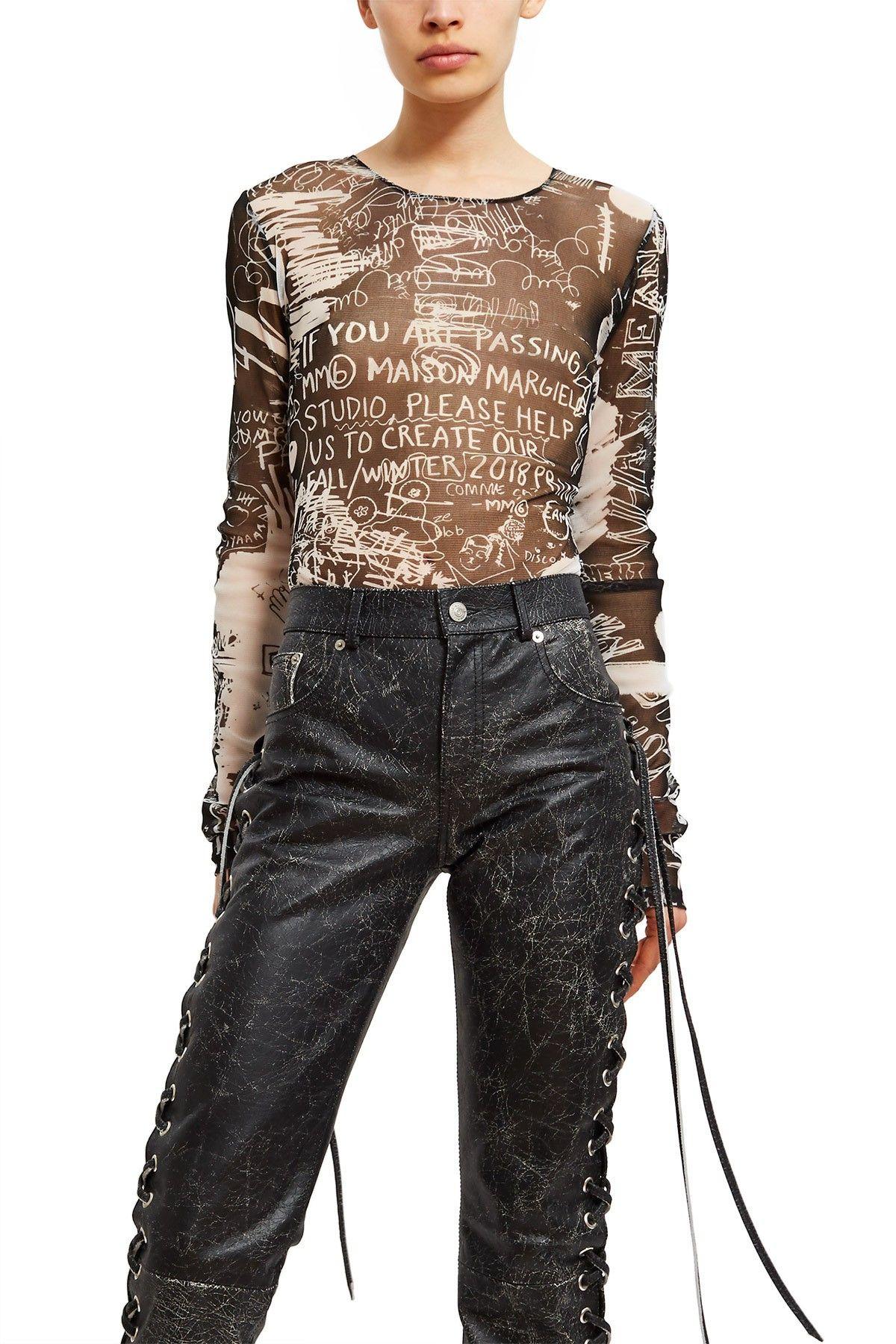 fb2a37a4b MM6 Maison Margiela, Scribble Print Bodysuit Cut from sheer mesh ...