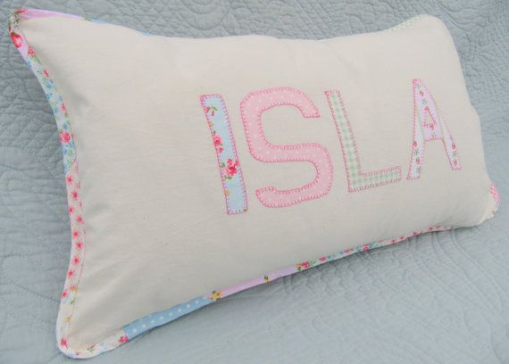 Pink letter pillow personalised baby present by ByElsieB on etsy www.byelsieb.etsy.com