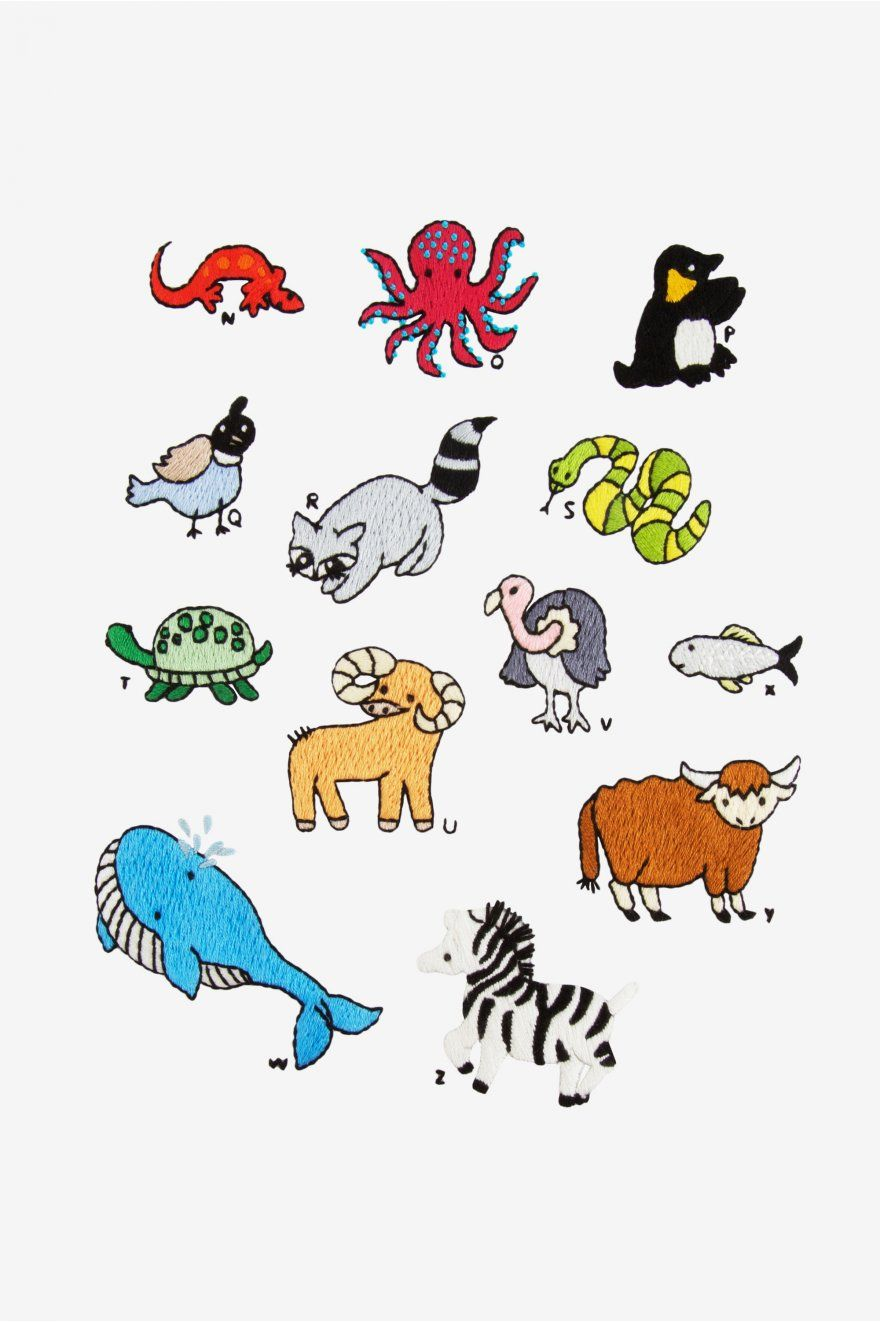 English Animal Alphabet N-Z pattern | Embroidery | Pinterest ...