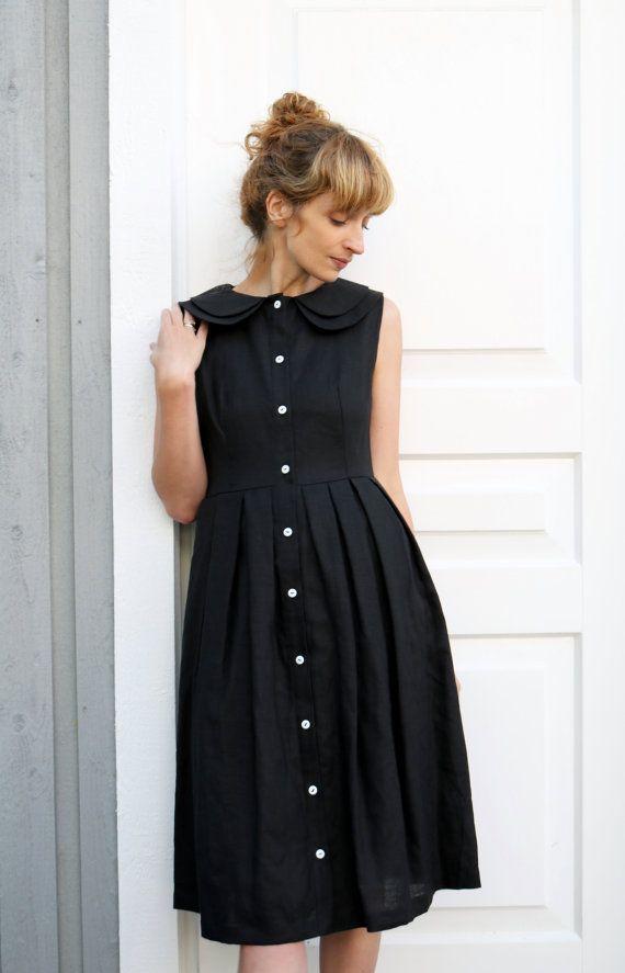 14adb159b4 Linen Dress - Black Linen Dress - Double Collar Dress - Full Pleated ...