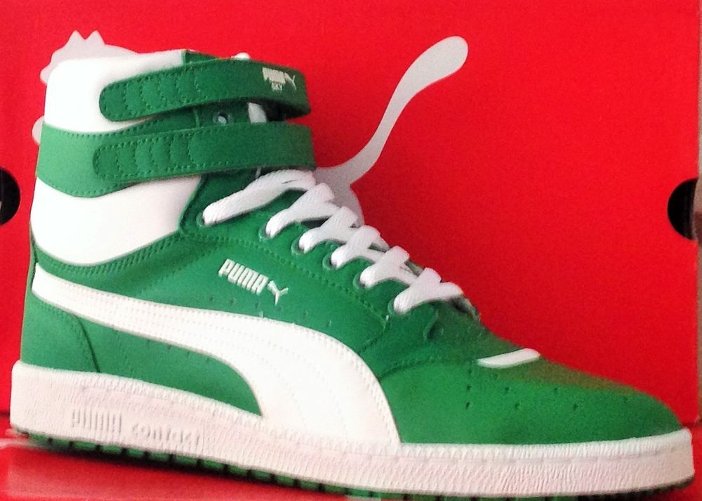 PUMA SKY II HI-Mens BasketBall New Shoes-Green/White-343230 43