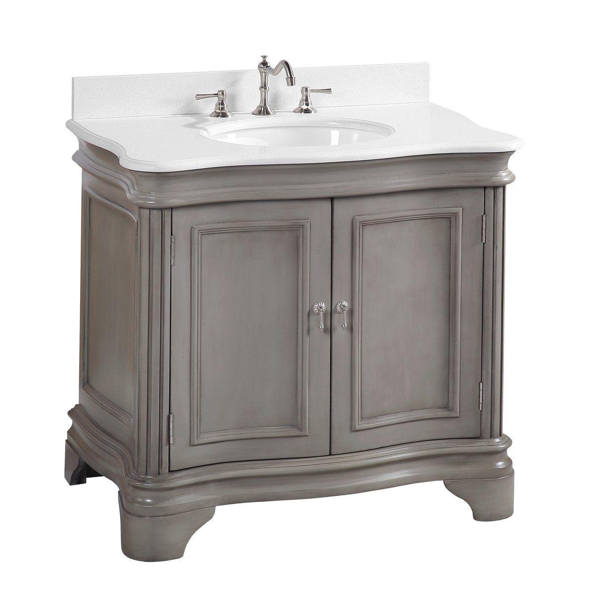 Katherine 36 Inch Vanity Quartz Weathered Gray 36 Inch Bathroom Vanity Bathroom Vanity Single Bathroom Vanity 36 inch gray bathroom vanity