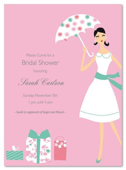 girl with umbrella bridal shower invitations