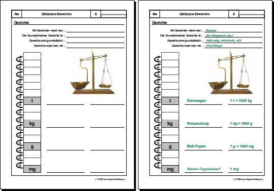 Mathematik & Geometrie   Arbeitsblatt Gewichte Massen   8500 Übungen ...