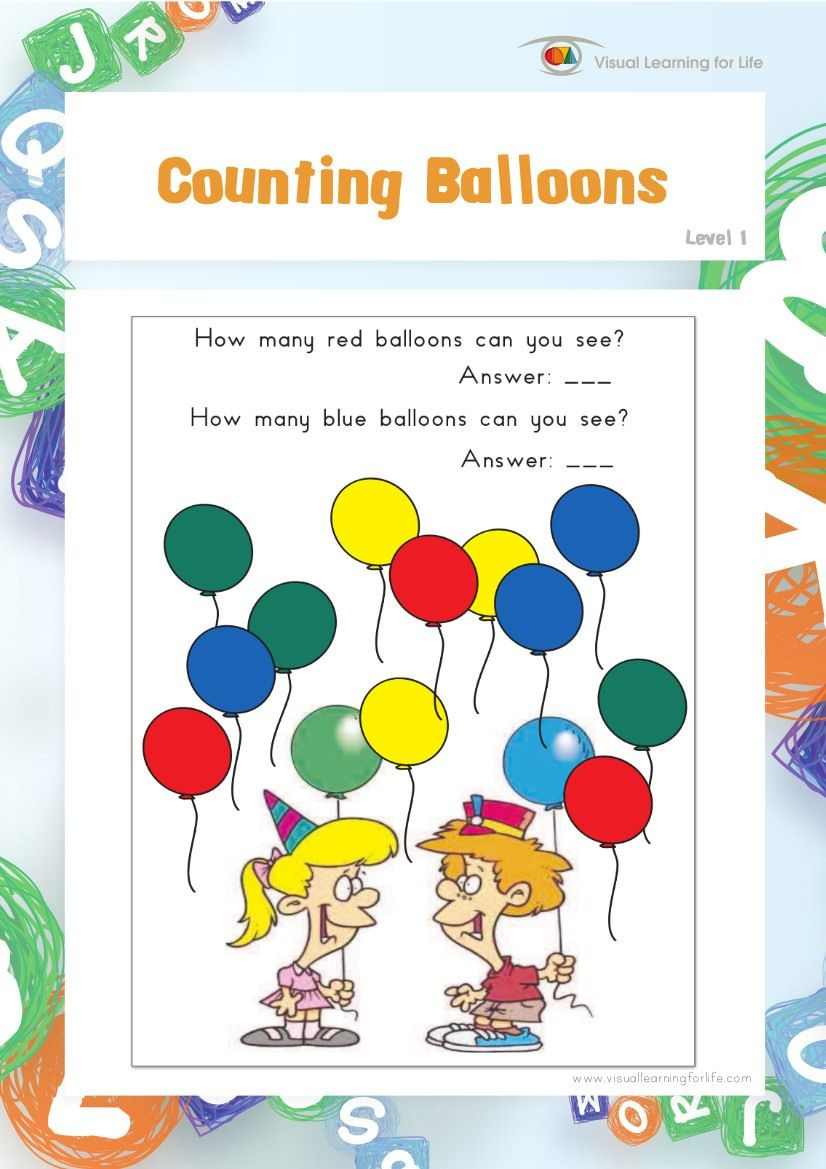 Counting Balloons Teach In A Box Balloons Visual Learning Shapes Worksheets [ 1169 x 826 Pixel ]