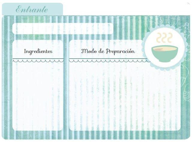 Resultado de imagen para hojas para copiar recetas postres for Plantillas de cocina