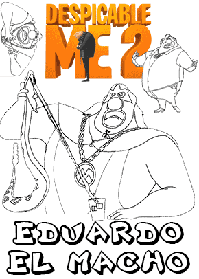 print free colouring sheets with eduardo and el macho from despicable me 2