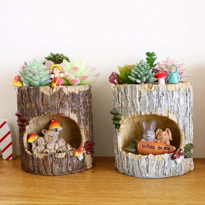 Desktop Flower Pot 1PC Animal Resin Mini Bonsai Planter Home Garden Decoration