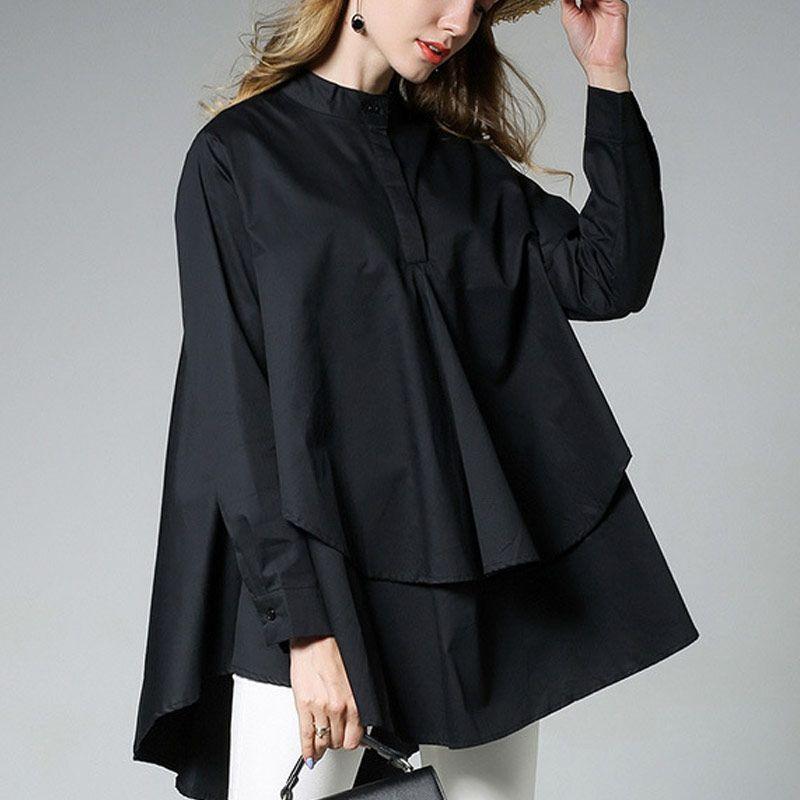 Aliexpress.com: Acheter Femmes asymétrique hem blouse femmes blouses  asymétrique à manches longues à
