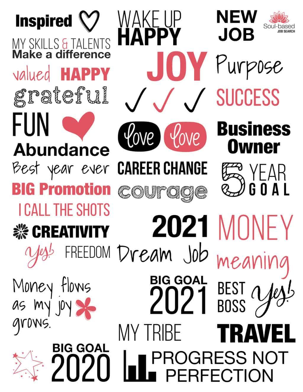 41 Career Vision Board Labels — Free Download - Jo