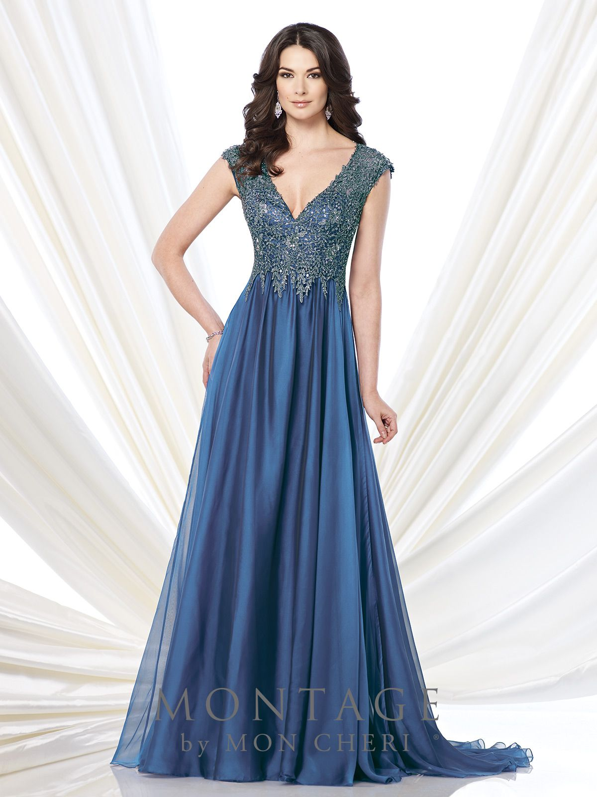 Chiffon and metallic lace aline gown montage by mon cheri