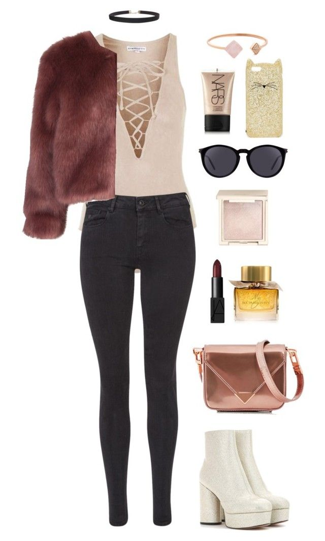 """""""Untitled #1368"""" by fairytalesofcupcake ❤ liked on Polyvore featuring Topshop, Maison Scotch, Stine Goya, Marc Jacobs, Alexander Wang, Humble Chic, NARS Cosmetics, Burberry, Jouer and Yves Saint Laurent"""