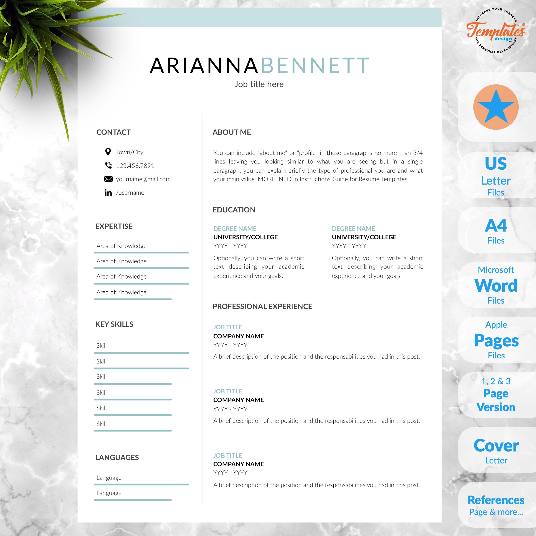 Best Simple Resume Template Etsy / Basic & Clean Resume