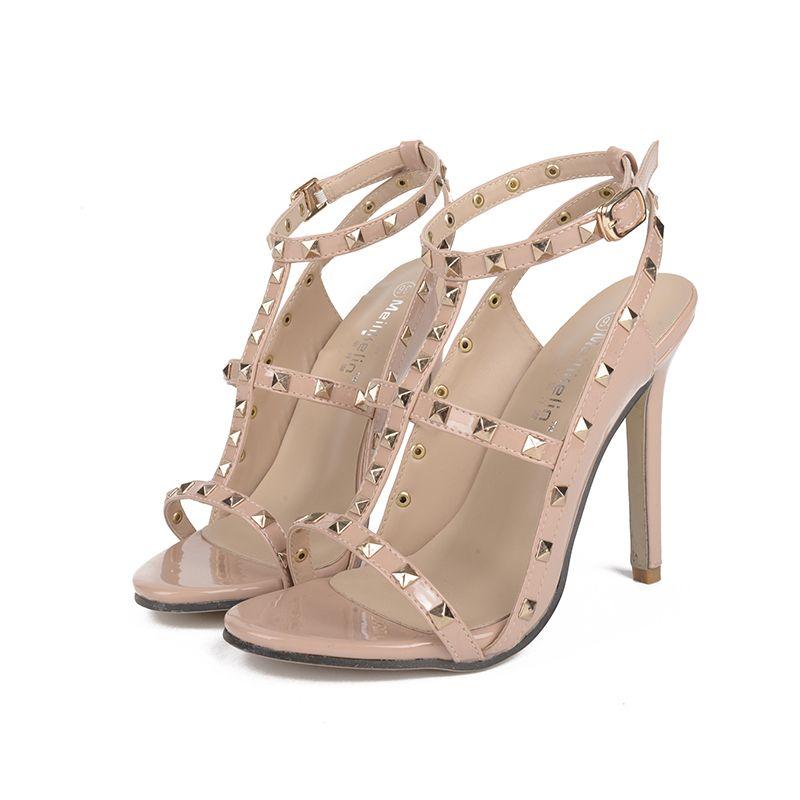 0f6b00dd48c3db New Fashion Style women s high heels Buckle Strap sandals ladies celebrity  Rivets shoes woman sandals Pumps
