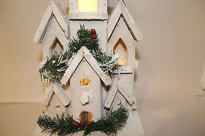 Christmas decoration cm white rustic wooden led lights church