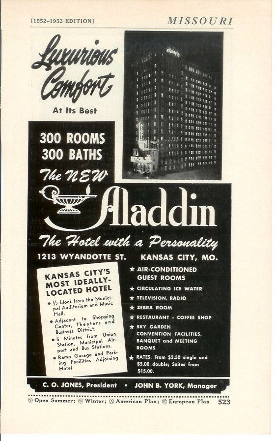 SO want this!! 1950s Hotel Advertisement - Aladdin Kansas City ...