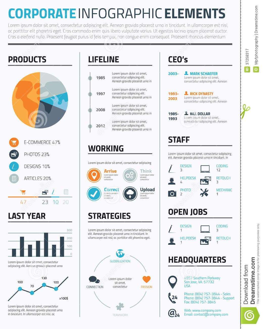Photo About Corporate Infographic Resume Elements To Display Data Template  Vector   38977079
