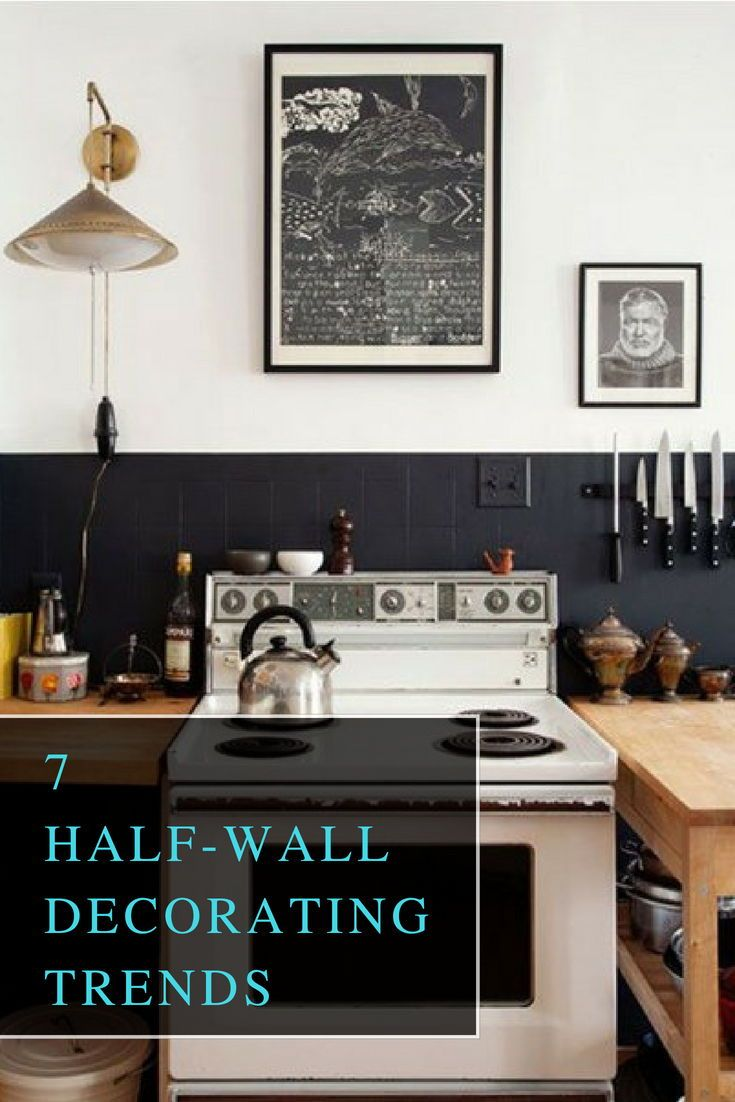 Fancy Kitchen Half Painted Wall Decor Walldecor Homedecor Halfwall Decor Wallideas Walldecoride Kitchen Black Counter Black Kitchens Kitchen Range Hood