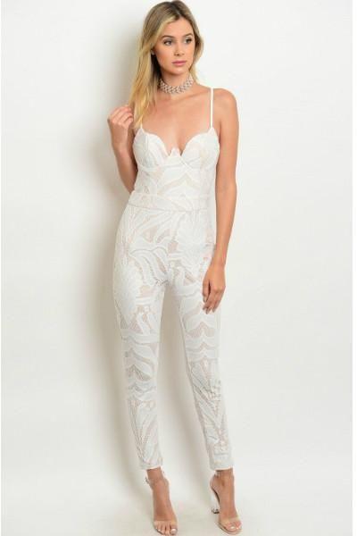 30b8edb26c5 Miss Sassy Pants Crochet Lace Jumpsuit - Ivory   Nude