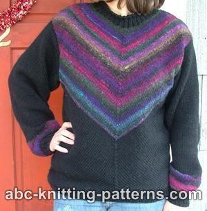 Diagonal Knit Noro Yarn Sweater:#knit #knitting #free #pattern #freepattern #freeknittingpattern #knittingpattern
