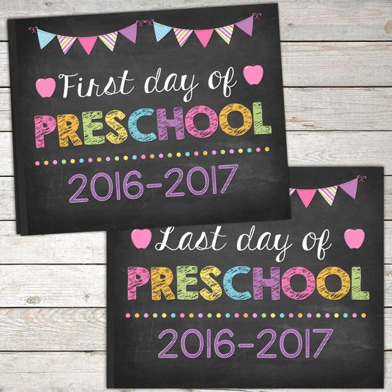 image about Last Day of Preschool Sign Printable named Initial Working day and Previous Working day of Preschool Indicator by way of TheLovelyDesigns