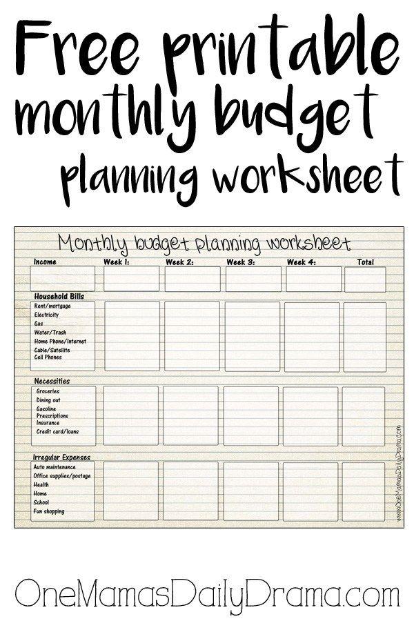 free printable monthly budget worksheet pinterest printable