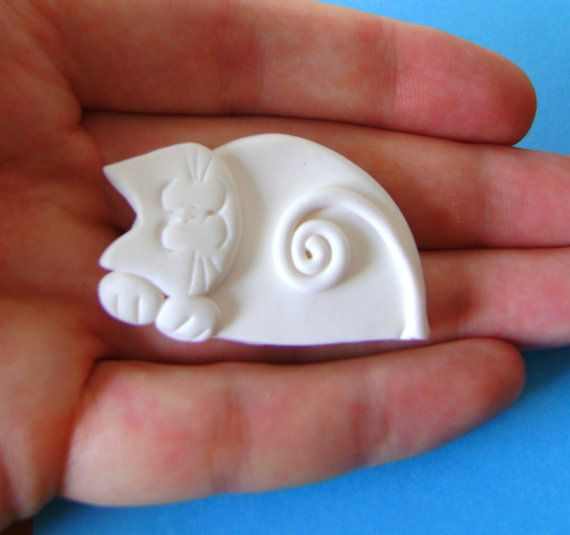 Polymer Clay White Cat Pin Brooch or Magnet