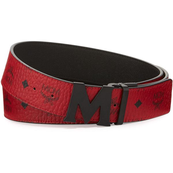 c9166f15388 Mcm Visetos Reversible Matte-Buckle Belt (405 CAD) ❤ liked on Polyvore  featuring men s fashion