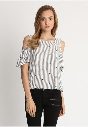 145f655d4ce9b Black striped cold shoulder top with floral embroidered detail ...