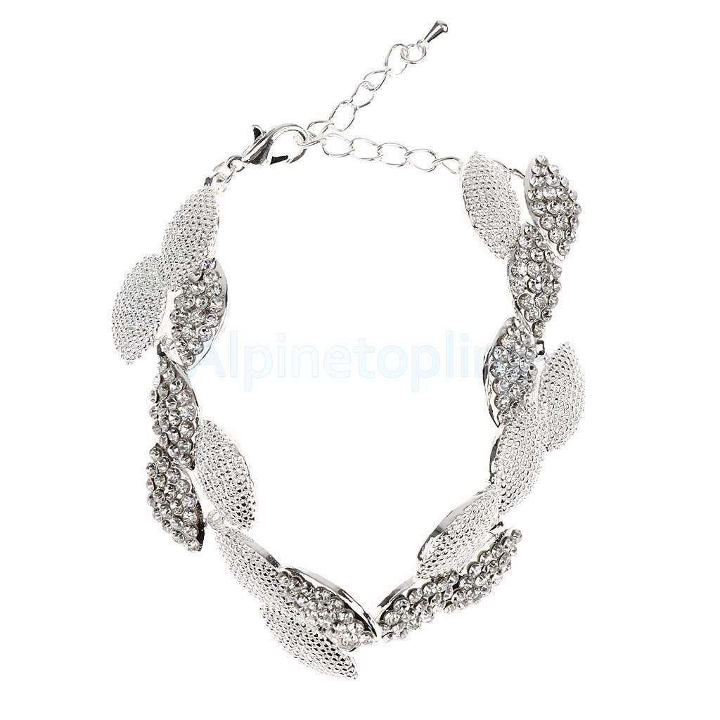 Piercing jewelry names  Roman Charming Crystal Leaf Shape Bangle Bride Wedding Bracelet Hand