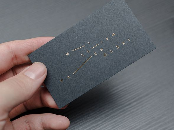 Minimalist Modern Navy Blue Card With Silver Foil Silver Moon Foil Business Cards Business Card Mock Up Colorful Business Card