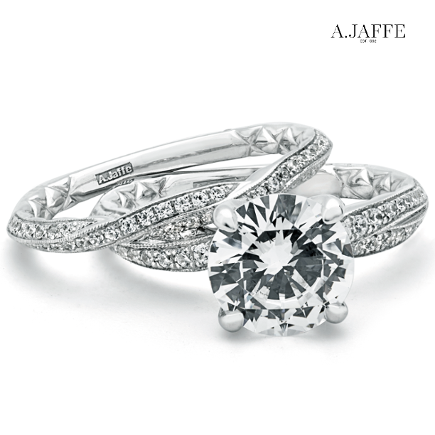 A.JAFFE Diamond Engagement Ring With Matching Band. (ref