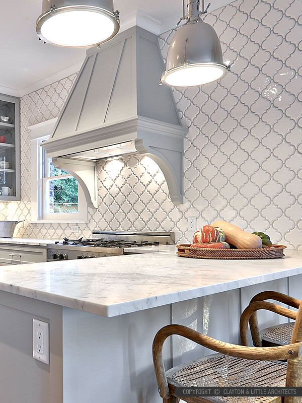 White Glazed Porcelain Arabesque Backsplash Tile | Backsplash.com #kitchenbacksplash