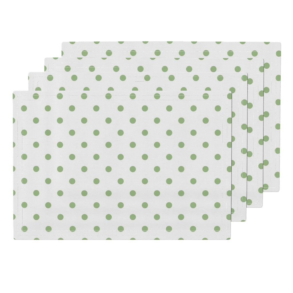 Nile Green Polkadots On White Cloth Placemats Set Of 4 Placemats Tablemats Mats Https Roostery Com P Lamona Cloth Placema No Frills Placemats Home Decor