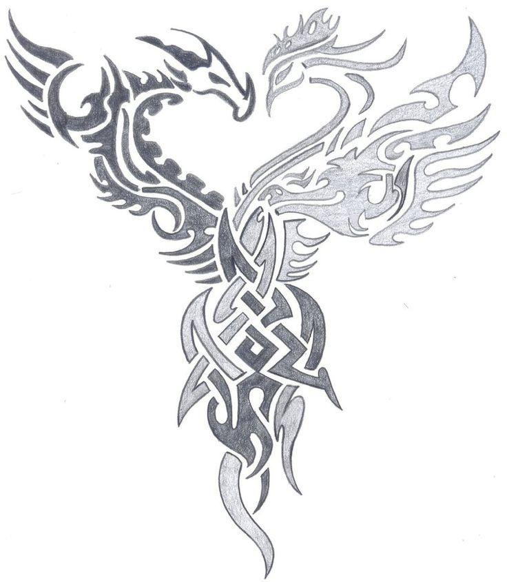 Dragon And Phoenix Art Google Search Art Dragon Google Phoenix Search Celtic Dragon Tattoos Tribal Phoenix Tattoo Phoenix Tattoo Design