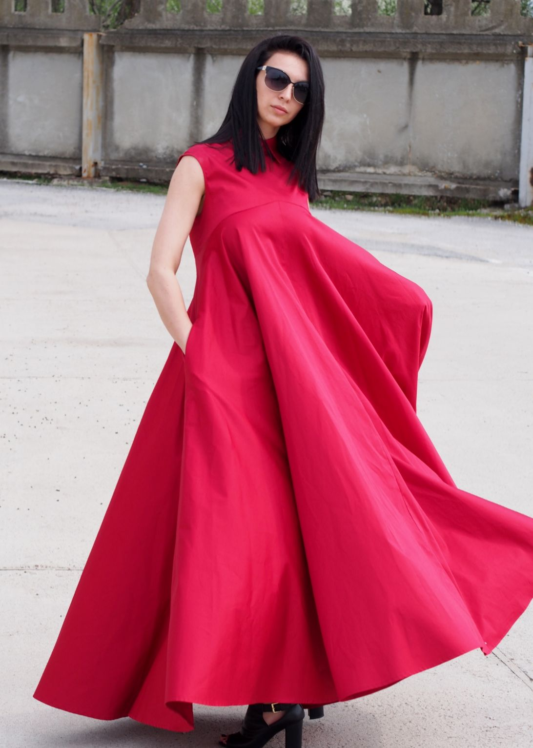 Awesome red kaftan dressred maxi dressextravagant ling dress long