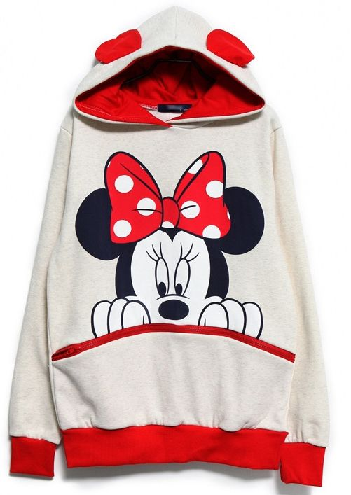 White Red Long Sleeve Mickey Hooded Sweatshirt US$24.63