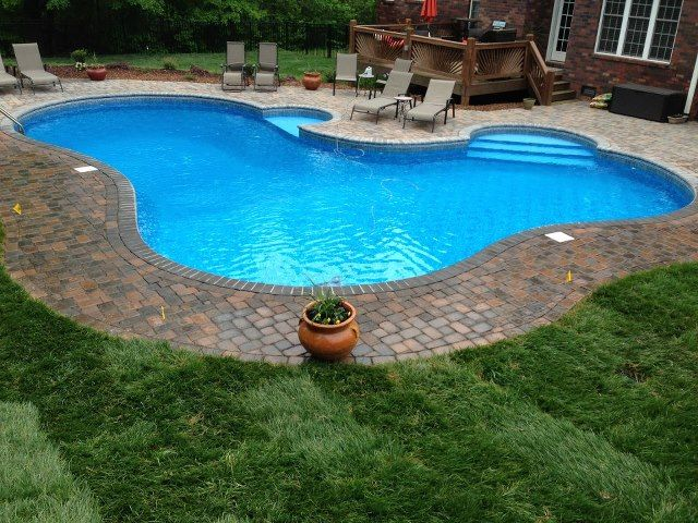 Charlotte Pool Photos Vinyl Pool Photos Free Form Pool With Decking Pavers